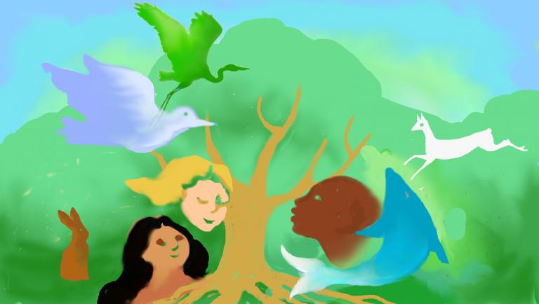 tree, birds, deer, rabbit, fish 3 humans different colors