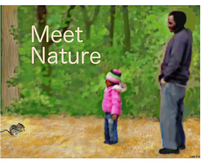 little girl and father in forest watching a chipmonk